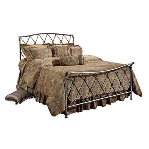BOWERY HILL Full Metal Sleigh Bed in Bronze Pewter