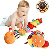 Musical Caterpillar Toy, LOXVAO Interactive Multicolored Infant Toy Stuffed Cuddly Baby Toy with Ruler Design, Bells and Rattle Educational Toddler Plush Toy for Newborn, Boys, Girls and Over 3 Month