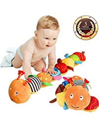 Musical Caterpillar Toy, LOXVAO Interactive Multicolored Infant Toy Stuffed Cuddly Baby Toy with Ruler Design, Bells and Rattle Educational Toddler Plush Toy for Newborn, Boys, Girls and Over 3 Month BOBEBE Online Baby Store From New York to Miami and Los Angeles