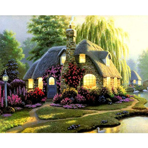 Rose Cottage Embroidery - Kimanli 5D Diamond Painting Rhinestone Pasted Embroidery Cross Stitch Home Decor Scenic Cottage (E)