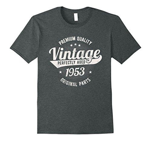 Mens Vintage Est 1953 T-Shirt 65 Years Old 65th Birthday Gift 2XL Dark Heather