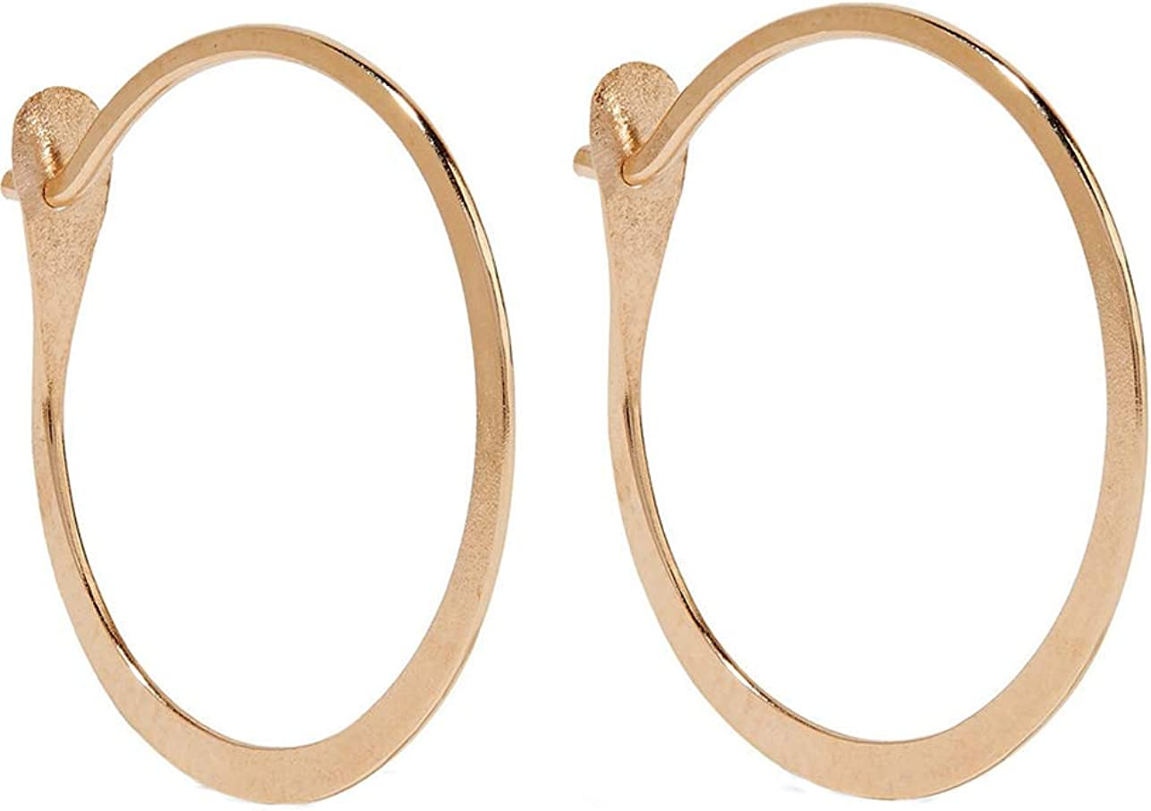 Nice! Authentic artisanal Melissa Joy Manning Circle Huggie Earrings 14k gold