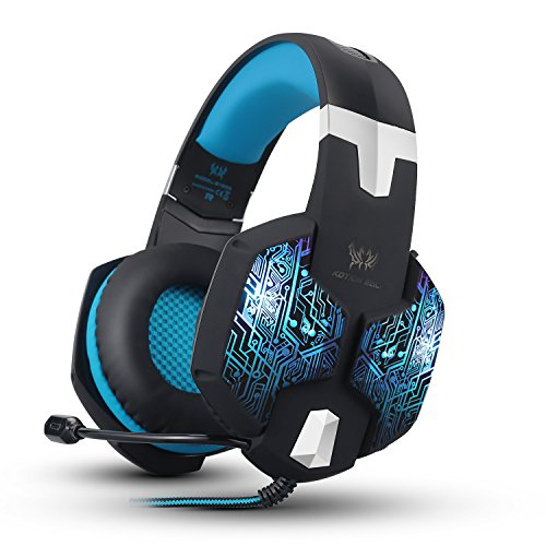 Kzon 3.5mm Stereo Over-ear Gaming Headphone with Noise Isolation, Volume Control, Mic and 7 Colors Breathing LED Light - BLUE