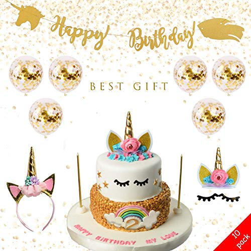 Price comparison product image Unicorn Birthday Party Supplies,  Eyelashes,  Headband,  New Desing Banner,  Gold Party Decorations - 6 Ballons Gift (Pack of 10)