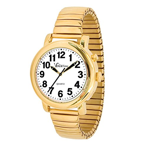 VocaTime Mens Gold Tone Talking Watch - Gold Tone Expansion Band by VocaTime