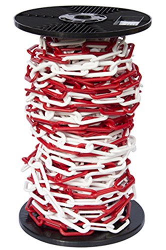 20mtr Reel Red & White 10mm Plastic Link Chain, Decorative Garden Decking Barrier Health & Safety Fence SafetyLiftingGear