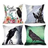 4PC Halloween Pillow Cover Cotton Linen Sofa Pad Square Cushions Home Decoration For Bed/Chair/Couch - Bat Pumpkin Little Witch Element (D)