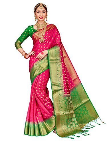(ELINA FASHION Sarees for Women Banarasi Art Silk Woven Work Saree l Indian Wedding Traditional Wear Sari & Blouse Piece (Pink))