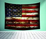 """Avamam Tapestry Wall Art American Flag Decor Usymbolism Over Old Rusty Toneweathered Vintage Social Plank Artwork-S Wall Hanging For Bedroom Living Room Dorm Size-60""""Wx51""""H"""