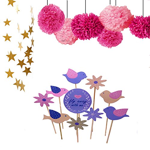DoTebpa 26Feet Sparkling Star Garland Banner Decoration and Tissue Paper Pom Poms(6pcs) and Bird Cupcake Toppers Set For Weddings, Birthday Parties, Bridal Showers, Holidays, Baby (Bird Birthday)