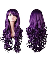 "Curly Cosplay Wig Long Hair Heat Resistant Spiral Costume Wigs Anime Fashion Wavy Curly Cosplay Daily Party Purple 32"" 80cm"