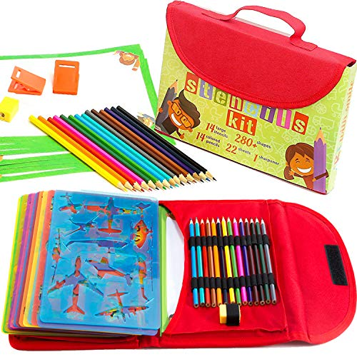 Drawing Stencils for Kids Kit & Carry Case - - Child-Safe, Non-Toxic Stencil Set with 280+ Shapes, Colored Pencils, Paper, Etc. - Travel Art Supplies for Creativity, Learning, Fun by Art with Smile