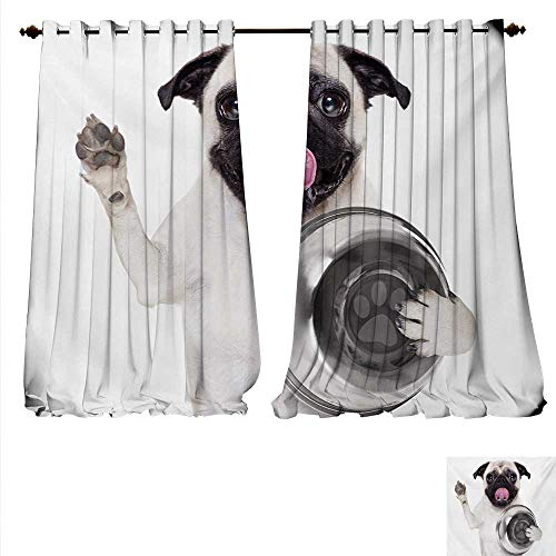 Price comparison product image familytaste Waterproof Window Curtain Cute Pug Holding Food Bowl and Licking Its Lips Hunger Image Raising Its Hand Waterproof Window Curtain W84 x L108 Cream Silver Black.jpg