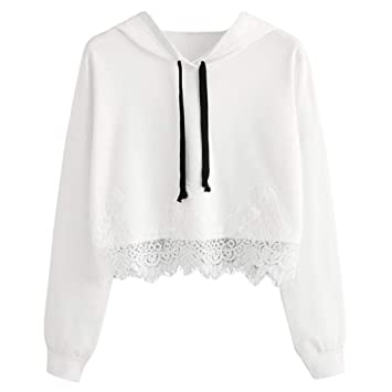 c2919ae617fee Girl Hoodie Crop Top for Women Lace Long Sleeve Blouse Hooded Sweatshirt  Pullover Casual Tops Shirt