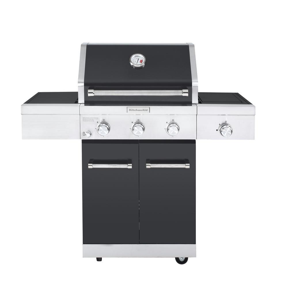 Amazon.com: KitchenAid 3-Burner Propane Gas Grill in Black with ...