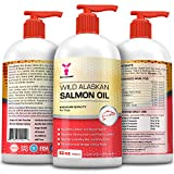 Wild Alaskan Premium Salmon Oil for Pets, 32 oz All Natural Unscented Omega 3 Fish Oil Liquid Supplement for Dogs, Cats, Horses, Ferrets - Helps Joint Support, Dry Skin & Coat - Just Pump on Food