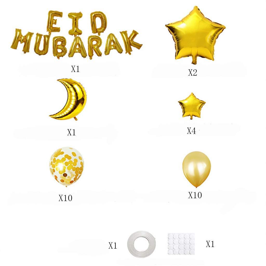 Ramadan Eid Party Decorations for Party Festival Gathering Ramadan Decorations Ouniman Ramadan Eid Mubarak Balloons Gold Eid Mubarak Banner Latex Balloons