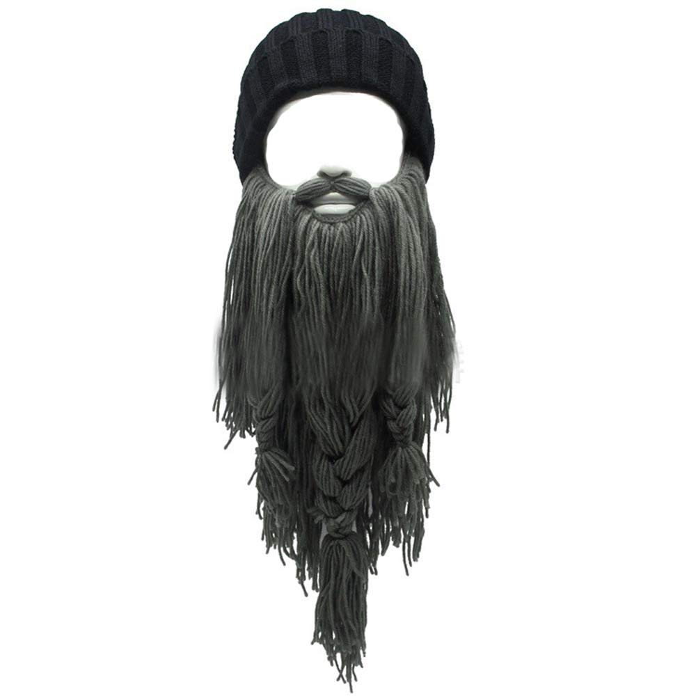 YEKEYI Adult Viking Beard Beanie Horn Hat Winter Warm Mask Hat Knitted Wool Funny Skull Cap