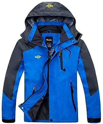Wantdo Men's Classic Front-Zip Waterproof Rain Jacket with Detachable Hood(Blue,Small)