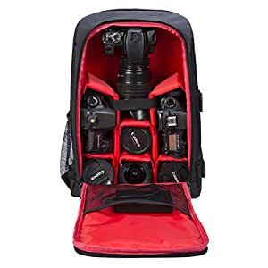 Camera Backpack Waterproof by G-raphy for DSLR/SLR Cameras (Canon, Nikon, Sony and etc), Laptops, Tripods, Flashes, Lenses and Accessories (Red)