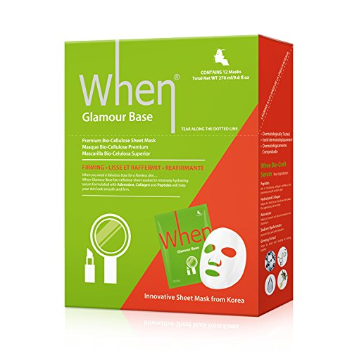 When Glamour Base Premium Bio-Cellulose Firming Sheet Masks for Face Pack of 12