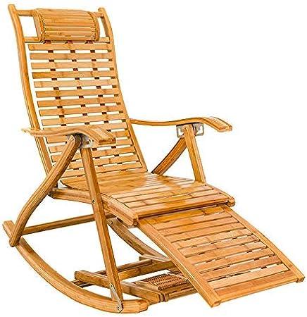 ZHJYD Sillón reclinable Sillas de jardín Mecedora for Adultos Plegables sillas de jardín Salón Tumbona Silla de Descanso al Aire Libre Patio Tumbona de Playa Sillas de Cubierta MAX.250kg: Amazon.es: Hogar