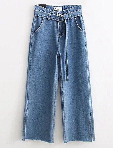 TT&NIUZAIKU Damen Hohe Hüfthöhe Chinos Jeans Hose Blau, Solide, Light Blau, Hose s 7d131e
