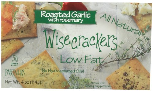 Partners Wisecrackers Low Fat Crackers, Roasted Garlic Rosemary, 4-Ounce Boxes (Pack of - Smoked Salmon Crackers