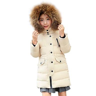 58629043f18c Amazon.com  SITENG Girls  Kids Winter Fur Hooded Down Coat Puffer ...