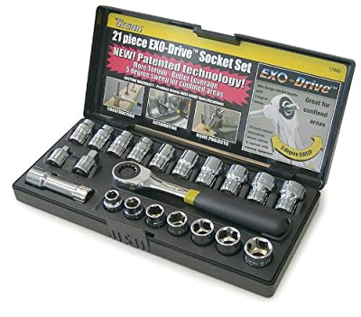 Titan Tools 17400 21-Piece EXO-Drive SAE & Metric Socket Set