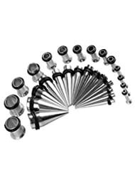 32 Pieces Taper Kit Tunnel and Taper Stretching Kit 14G, 12G, 10G, 8G, 6G, 4G, 2G, 0G- 16 Pieces (8 Pair)
