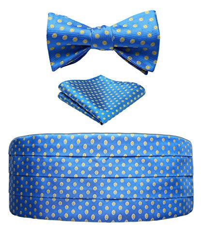 Men's Floral Jacquard Silk Cummerbund & Self Bowtie and Pocket Square Set Blue