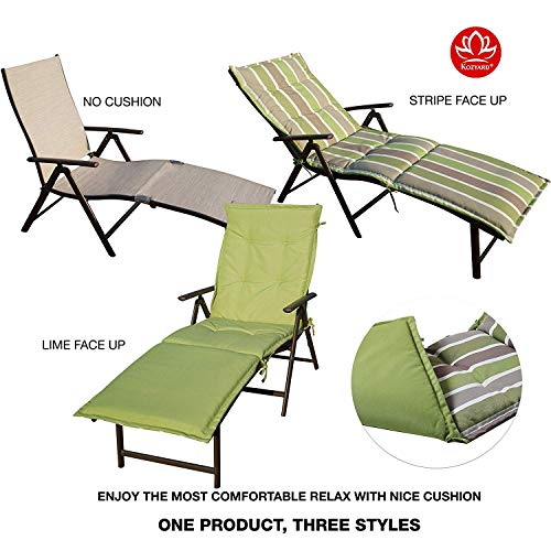 Green Padded Recliner - Kozyard Cozy Aluminum Beach Yard Pool Folding Reclining Adjustable Chaise Lounge Chair (Beige with Lime Cushion)