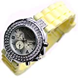 Geneva Crystal Women's Watches Fashion Silicone Ladies Watches with Rhinestone L198-y