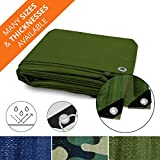 Heavy Duty Tarps | Waterproof Ground Tent Trailer Cover | Multilayered Tarpaulin in Many Sizes and Thicknesses | 15 Mil - Green - 12' x 16'
