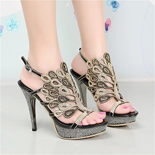 Cuero Imitación Mujer Nupcial Diamante Boda Sandalias De Zapatos wmN80vn