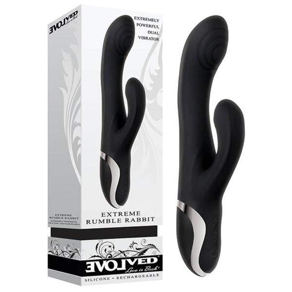 Evolved Novelties Rechargeable Silicone Extreme Rumble Rabbit Vibrator Black