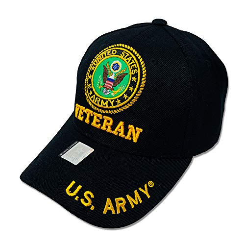 GREAT CAP Acrylic Military Hat - US Warriors Official Licensed Army Hat 3D Embroidered with Size Adjustable Hoop and Loop Closure for Men and Women - U.S. Army - Circle - Veteran - Black