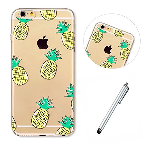 Wakso Phone Case for iphone SE/5/5S Flexible Cover Ultra Thin Shell TPU Transparent Shock Absorption Case - Pineapples + Metal Touch Pen