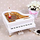 DEHANG Classical Piano Music Box of Model Mechanical Music Box Kids Girls Gift Toy -White