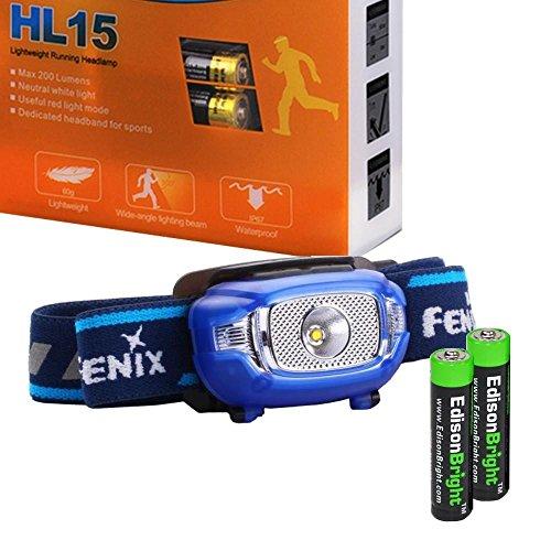 Alkaline Batteries Aaa 2 (EdisonBright Fenix HL15 200 Lumen light weight CREE LED running Headlamp (Blue color body) with 2 X AAA alkaline battery bundle)