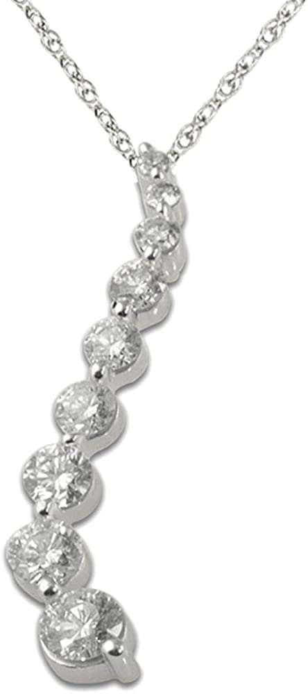 TriJewels Round Diamond Journey Pendant 1//4 ctw 14K White Gold with 18 Inches 14K Gold Chain
