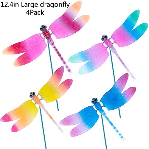 FENDISI Dragonfly Outdoor Decor Decorative Garden Stakes Lawn Ornaments Patio Decoration Yard Accessories 3D Plastic Art Whimsical Dragons (Pack of - Dragonfly Stake