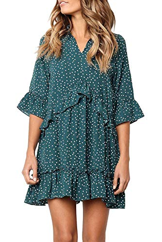 Mystry Zone Dresses for Women V Neck Ruffle Polka Dot Loose Swing Casual Short T-Shirt Dress