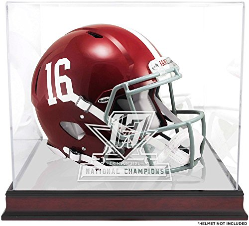 Sports Memorabilia Alabama Crimson Tide College Football Playoff 2017 National Champions Logo Mahogany Helmet Display Case
