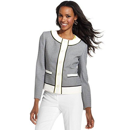 Anne Klein Gray Collarless Tweed Contrasttrim Jacket (12)