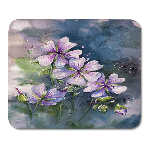 Boszina Mouse Pads Love White Painting Pink Geranium Flower in Garden Created with Watercolors Beautiful Anniversary Mouse Pad 9.5