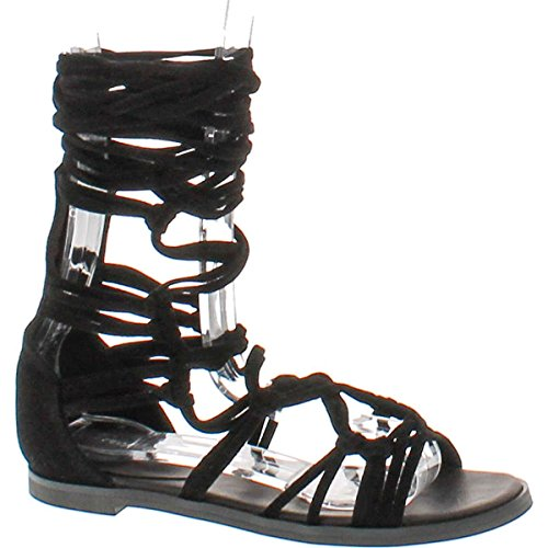 Lace Up Womens Shoes - Breckelle's DG23 Women Suede Knotted Peep Toe Lace up Wrap Gladiator Flat Sandal, Black, 10