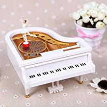 DEHANG Classical Piano Music Box of Model Mechanical Music Box Kids Girls Gift Toy -White