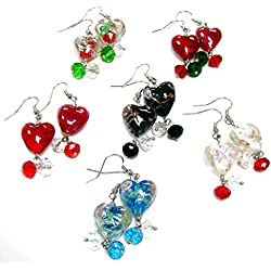 "Linpeng/ Woman's Earrings/Lampwork Heart Beads Drop Earrings/Hand Painted Flowers/Beads Sizes Approx. 8 To 15.5mm/Length Around 1.25""/6 Pairs"